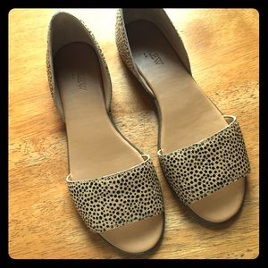 J. Crew Morgan Calf Hair Peep Toe Flats